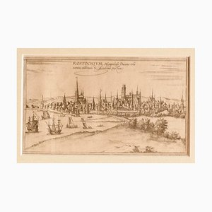 Franz Hogenberg - Ansicht von Rostock - Original Radierung - 16. Jahrhundert