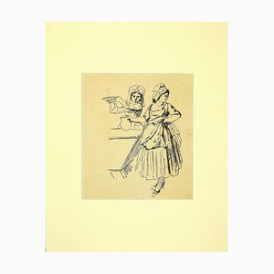 Unknown - Figure of Women - Original Pencil Drawing - 1880s