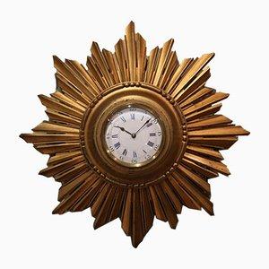 Sunburst Carved Giltwood Wall Clock