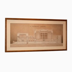 Architectural Library Print Framed