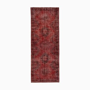 Vintage Turkish Red Overdyed Runner Rug