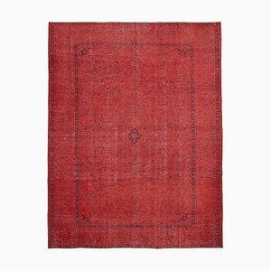 Roter Überfärbter Vintage Area Teppich