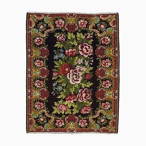 Schwarzer Moldawischer Vintage Kilim Teppich