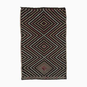 Vintage Turkish Brown Kilim Rug