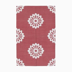 Roter Vintage Dhurrie Teppich