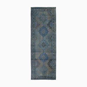 Vintage Turkish Blue Overdyed Runner Rug