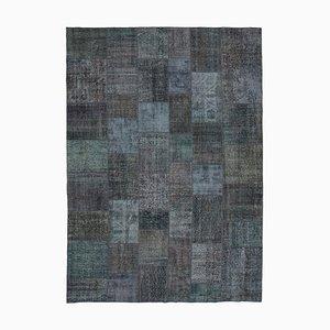 Grauer Vintage Patchwork Teppich