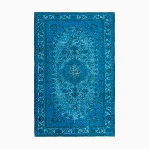 Türkiser Überfärbter Vintage Teppich