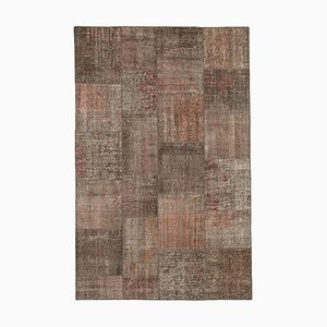 Brauner Vintage Patchwork Teppich