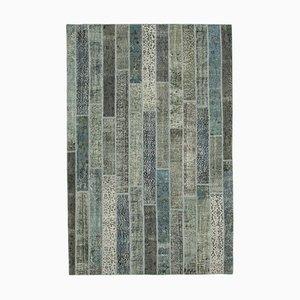 Grauer Moderner Vintage Patchwork Teppich