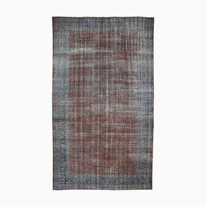 Großer grauer Überfärbter Vintage Teppich