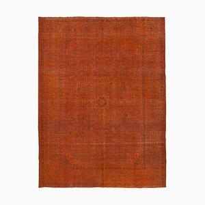 Großer Orange Überfärbter Vintage Area Teppich