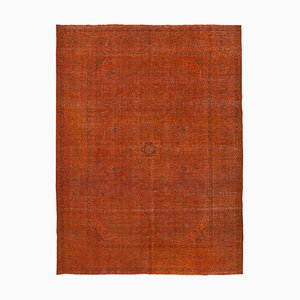 Large Vintage Orange Overdyed Area Rug