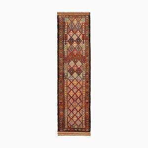 Brauner Vintage Boho Läufer Teppich