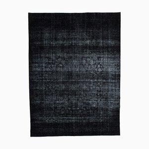 Großer schwarz gefärbter Vintage Area Teppich