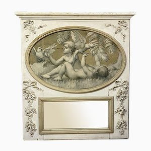 Louis XVI Lacquered Wood Overmantle Mirror, 1780s