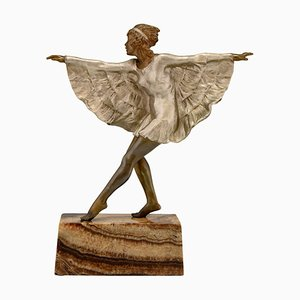 Marcel Andre Bouraine, Tänzerin mit Schmetterlings Kleid, Art Deco Skulptur aus Bronze