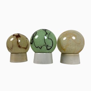 Art Deco Ceiling or Wall Lamps with Marble Spheres from Thabur, Set of 3