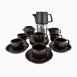 Mid-Century Ceramic Espresso Set from Ceramica Franco Pozzi, Set of 9