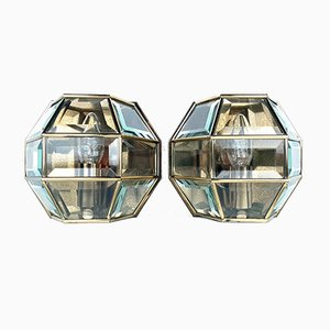 Hexagonal Gold Brass and Crystal Sconces, 1960s, Set of 2