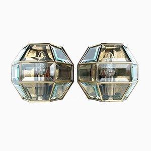 Hexagonale Wandleuchten aus Messing & Kristallglas, 1960er, 2er Set