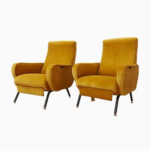 Italian Adjustable Velvet Armchairs, 1960s, Set of 2