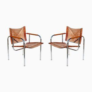 Leather Lounge Chairs by Hans Eichenberger for Strässle, 1960s, Set of 2
