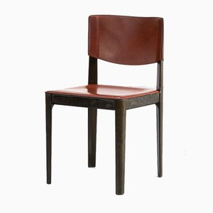 Leather and Ebonized Oak Dining Chairs from Matteo Grassi, 1970s, Set of 4