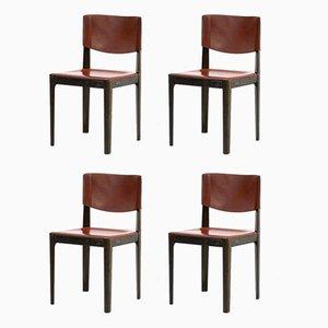 Chaises de Salon en Cuir et en Bois façon Ébène de Matteo Grassi, 1970s, Set de 4