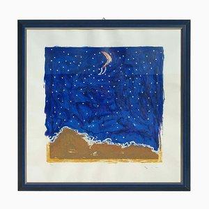 Mario Schifano, Desert, Materic Serigraphie mit Rahmen