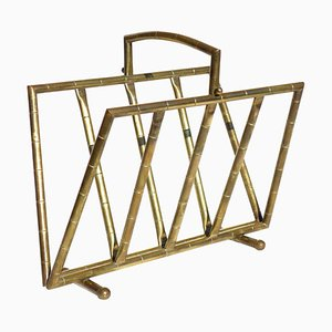 French Bamboo and Brass Magazine Rack from Maison Baguès, 1950s