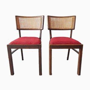 Holz Esszimmerstühle, 1950er, 2er Set