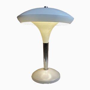 Tischlampe in Weiß und Chrom im Bauhaus Stil