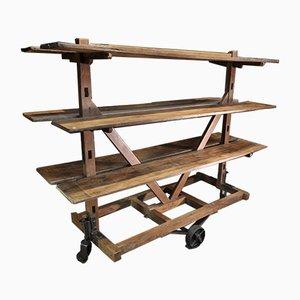 Antikes Holzregal auf Rollen