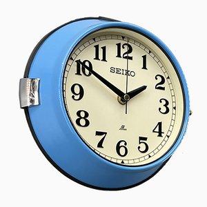 Vintage Industrial Blue Quartz Wall Clock from Seiko, 1970s