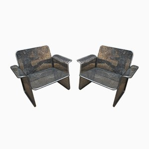 Perforated Metal Armchairs, 1960s, Set of 2