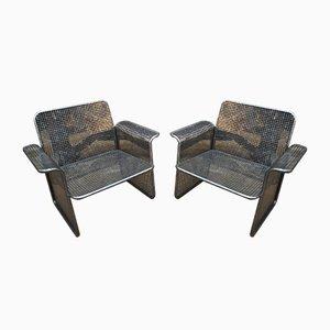 Perforierte Metall Armlehnstühle, 1960er, 2er Set