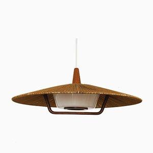 Grande Lampe à Suspension en Raffia de Temde, 1960s