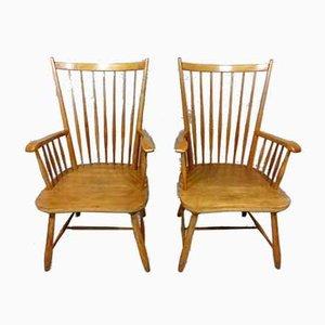 Scandinavian Beech Armchairs, 1960s, Set of 2