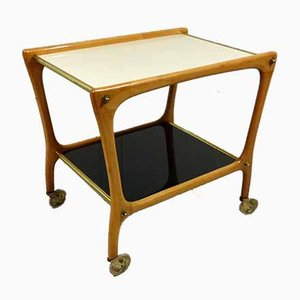Serving Trolley With White & Black Glass Table Tops, 1950s