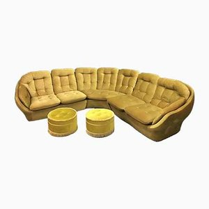 Vintage Modular Sofa, Chair and Footstool from VONO, Set of 6