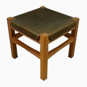 Wooden Stool With Saddle Leather Seat, 1980s