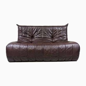 French Brown Leather Sofa, 1960s