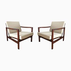 Beige B-7752 Lounge Chairs by Zenon Bączyk for Swarzędzkie Fabryki Mebli, 1960s, Set of 2