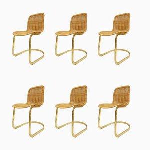Esszimmerstühle aus Korbgeflecht von Cidue, 1970er, 6er Set