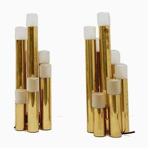 Tubular Brass Table Lamps by Gaetano Sciolari for Boulanger, 1970s, Set of 2