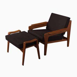Armchair and Stool by Arne Wahl Iversen for Komfort, 1960s, Set of 2