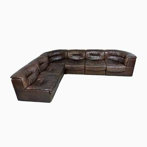 Ds11 Brown Leather Modular Sofa from de Sede, 1970s, Set of 6