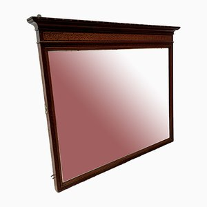 Antique Mantelpiece Bevelled Mirror with Mahogany Frame
