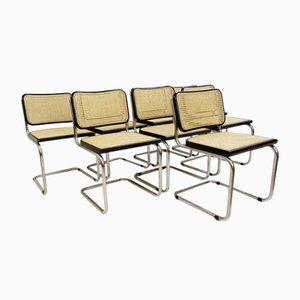 Stühle aus Schilfrohr & Chrom, Italien, 1970er, 8er Set